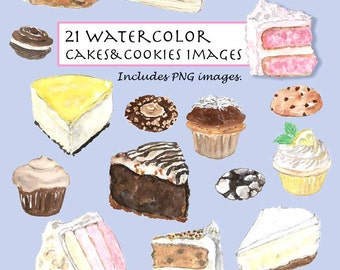 CLIP ART- Watercolor Cakes & Cookies Set. 21 Images. Digital Download. Cupcakes. Sweets. Bakery. Cake Slices.