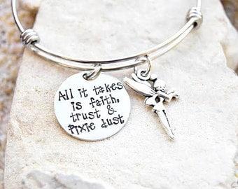 Sale - Disney Jewelry - Disney Bangle - Disney Bracelet - Tinkerbell - Faith Trust Pixie Dust - Bridesmaid - Disney Wedding - Disney Gift