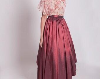 Red prom skirt, red taffeta high low skirt, asymmetrical skirt, 50s full skirt, red carpet dress 2 piece, hi lo skirt, Valentines Day outfit