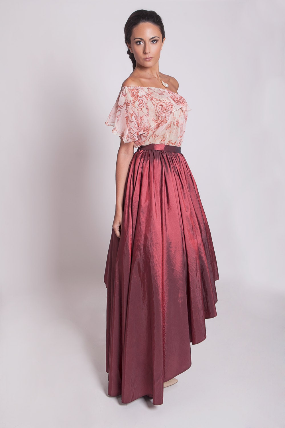 Red prom skirt red taffeta high low skirt asymmetrical zoom ombrellifo Gallery