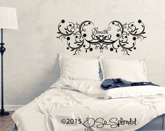 Decorative Personalized & Monogram Headboard Design Vinyl Wall Decal - Custom Bedroom Wall Décor Sticker - Any Color