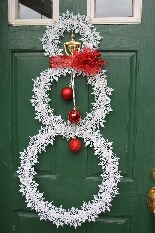 Christmas Snowflake Wreath Whimsical Snowman Wreath