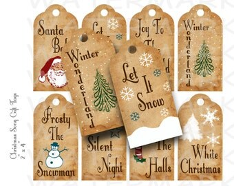 Christmas Song Gift Tags - Printable - INSTANT DOWNLOAD
