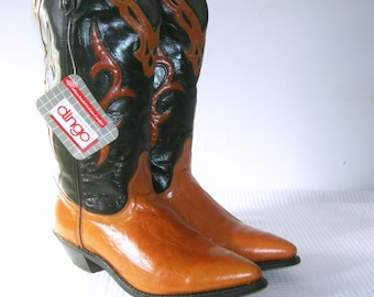 Vintage 80s Dingo Boots Leather Cowboy Women's Dingo Acme Inlay Western Rockabilly Deadstock NWT Made in USA Womens Size 7