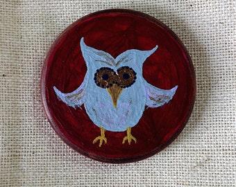 Owl & Apple Miniature Art - Pocket Charm - OOAK