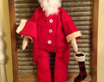 Primitive Country Christmas Santa Doll with Red Flannel Pajamas
