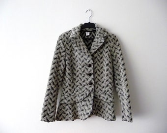 SALE. Elegant womens jacket. Italian fashion. Black and white fitted jacket.