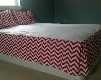 Custom Bed Skirt - Made to Order Dust Ruffle- Chevron Bedskirt - Chevron Bedding