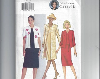 Butterick 3079 Pattern for Misses Jacket and Dress, Diahann Carroll, Size  8-10-12, From 2001. FACTORY FOLDED & UNCUT, Long or Short Jacket