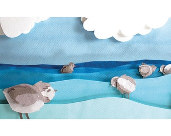 Limited Run Archival Art Print of Piping Plovers in Ocean