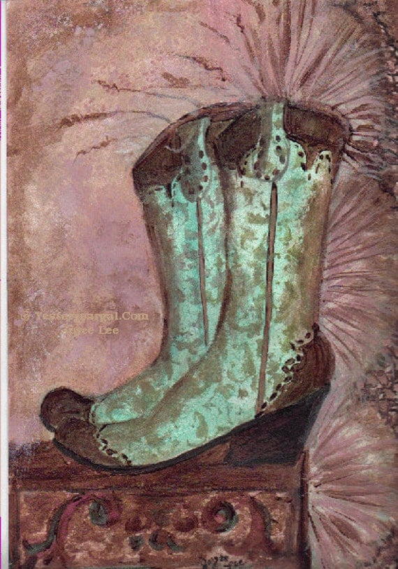 Love  The Turquoise     A Western Art Print From My Cowgirls Boots Series