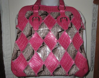 Vintage Pink, Black, Gray Argyle Style Bag/Purse/Tote