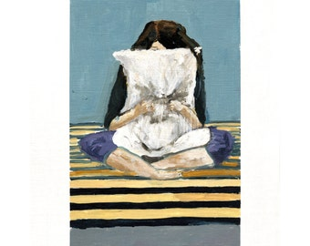 Squeeze. Giclee Art Print, Whimsical Girl Pillow Painting, Modern Home Decor, Bedroom Art, 11 x 14