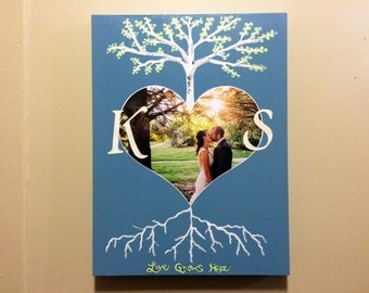 "Custom Wedding Photo Art - Love Grows Here Tree with Roots - 9"" x 12"" - Made to Order"
