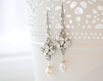 Bridal Earrings Chandelier, Wedding Earrings Vintage, Art Deco Bridal Jewelry, Earrings Pearl and Crystal