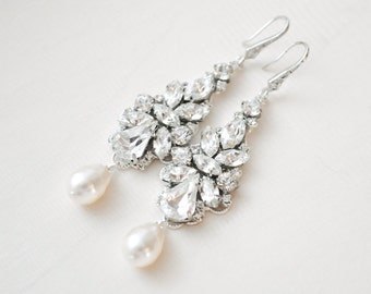 Statement Bridal Earrings, Large Art Deco Bridal Earrings, Chandelier Earrings, Wedding Earrings, Bridal Jewelry