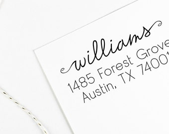 Return address stamp with script name and swirls, wedding address stamp, self inking, rubber stamp wood handle