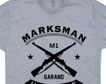 Marksman T Shirt M1 Garand Military Rifle T Shirt Sniper T Shirt Full Metal Jacket T Shirt Army Infantry Marines T Shirt Hunting T Shirt