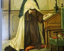 """Framed Lithograph of Saint Therese de Lisieux""""  AKA The Little Flower of Jesus"""""""