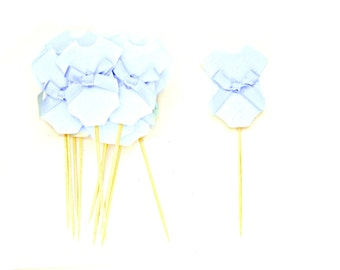 12 Pale Blue Baby Boy Cupcake Toppers - Baby cupcake toppers, Baby Boy cupcake toppers, Baby shower cupcake toppers