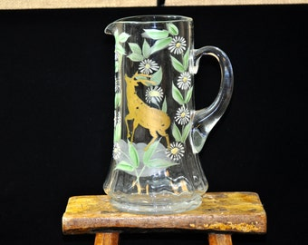 Unusual Large Deer Water Pitcher, Antique, Vintage pitcher, gift for her,  handpainted, Fun to use at parties, #1403