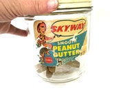 Vintage Glass Jar Peanut Butter Skyway Cowboy Graphics