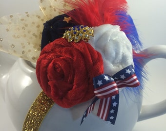 Forth of July, Fascinator, Stars and Stripes, 4th of July, American flag, Red white and blue, Fascinator headband, Patriotic, Fireworks