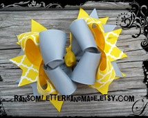 Yellow Quatrefoil Hair Bow Grey and Yellow Lattice work Dress Outfits for Spring