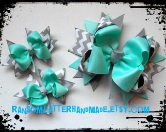 Aqua and Grey Hair Bows Aqua Blue and Gray Chevron Ribbon Bow Made to Match Dress Aqua Easter Pastel Dollie and Me hair Bow Set