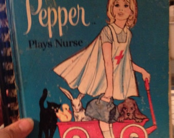 Pepper Plays Nurse Little Golden Book Upcycled/Recycled Art Journal (FREE Shipping)