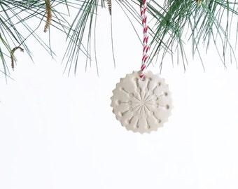 Snowflake Christmas Ornament - Nordic / Scandinavian Style Ornament - Christmas Decor Clay Ornament