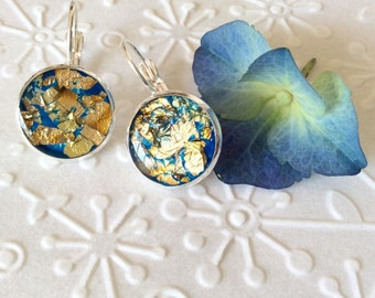 Gold leaf dangle earrings silver plated,gift for her,dainty earrings,resin earrings,gold leaf earrings,resin dangle,resin jewerly