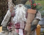 Prim Black Santa Clause, Made From Antique Cutter Quilt, Rag Doll, Negro Ethnic Saint Nick ,African American