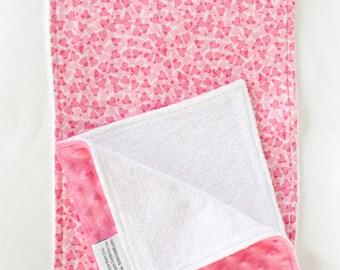 Baby Girl Burp Cloth Set, Bright Pink Cozy Dot & Hearts, Baby Girl Shower Gift, Newborn Baby gift