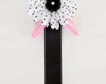 Hair Clip Holder, White and Black Polka Dot Flower, Black Ribbon, Pink Leaves