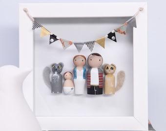 Custom Gift - Personalized Peg Doll Family - Custom Family Portrait - Dollhouse Family - Birthday Gift - Peg Dolls - Family Gift - Heirloom