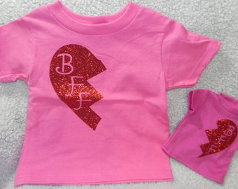 Matching doll and girl BFF t-shirt