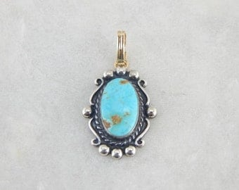 Gold And Turquoise, Updated Vintage Cowgirl Pendant. 2FMQZE-R