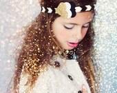 Glitter and felt heart headband - baby, toddler, girs bow headband - gold, black and white