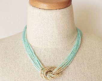 Mint and gold necklace, seed bead necklace,aqua necklace, lucite green necklace, beaded necklace, knot necklace, gold, multistrand necklace
