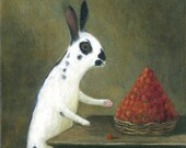 "Fine Art Print of an Original Animal Painting: ""Il Ladro di Fragola (After Jean-Baptiste Chardin's, 'Basket with Wild Strawberries', c.1761"""