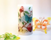 Colorful Butterflies Decorative Candle, Butterfly Art, Butterfly Decor, Butterfly Decoration, Butterfly Candle, Spring Decor, Blue Butterfly