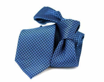 Tie (3 inch) in Neats with Steel Blue, Black and a hint of pink (also available in pocket squares)
