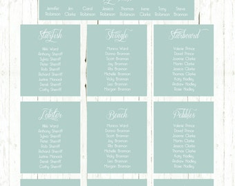 Wedding Table Plan / Seating Chart - Bohemian Beach Sea Green Style