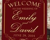 Burgundy Welcome Wedding Poster - 11x17 - 18x24 - 24x36 - Digital File
