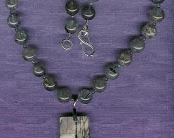 Jonkoping Sweden - Picasso Jasper, Rutilated Snow Quartz, Labradorite, Sterling Silver Necklace