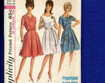 1960's Simplicity 5865 Pleated Skirt Dresses for Three Height Groups for Women Size 14