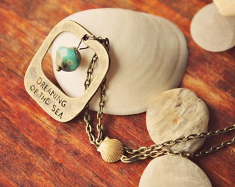 Dreaming of the Sea ~ a brass ocean beach mermaid inspired necklace with a rustic turquoise czech glass bead and little seashell connector