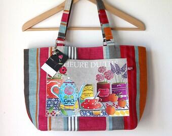 """Multi-colour striped linen Tote illustrated """"Tea time"""""""