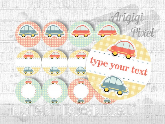 Type Your Text Car Toys circle tag, editable PDF, editable in Word round DIY label 2.5 in kids birthday party favor, gift wrap, download